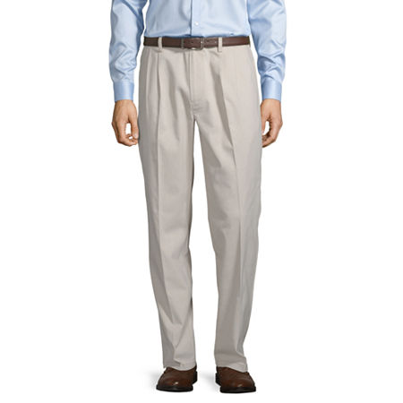 St. John's Bay Easy Care Men's Stretch Classic Fit Pleated Pant, 36 29, Beige