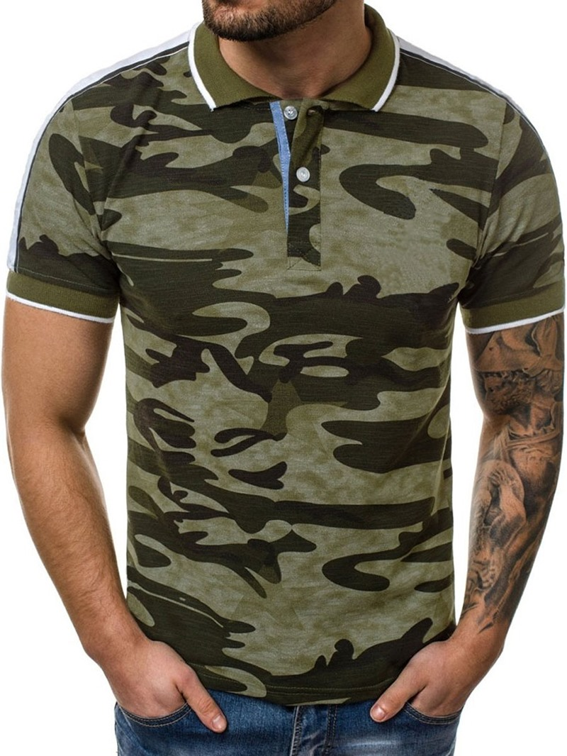 Ericdress Camouflage Casual Button Mens Polo Shirt