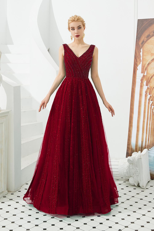 BMbridal Glamorous Green V-Neck Sleeveless Prom Dress Long With Beadings Online
