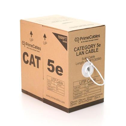 Cat5e 24AWG UTP câble en vrac solide, classé dans les murs (CL2), 1000pi - PrimeCables® - blanc