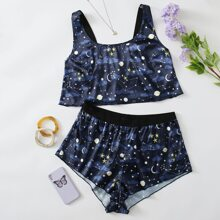 Plus Galaxy Print Satin Lingerie Set