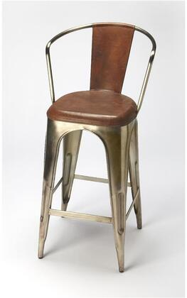 Roland Collection 6130344 Barstool with Modern Style  Iron Metal Material and Leather Uphlostery in Brown Leather