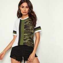 Cut-and-Sew Camo Panel Top