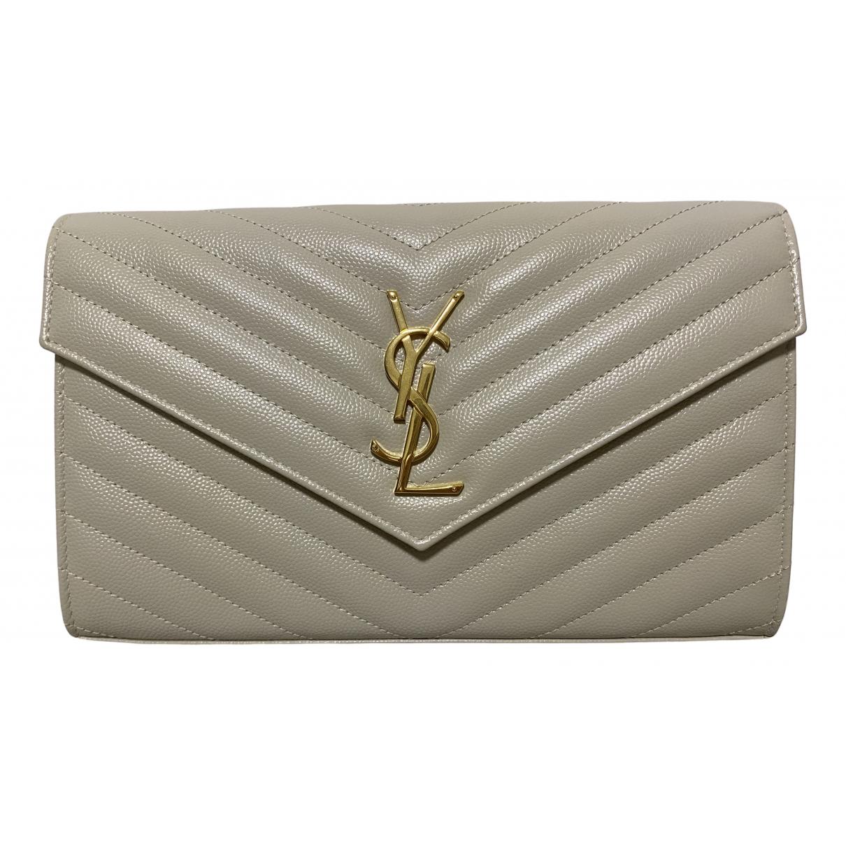 Saint Laurent Portefeuille enveloppe White Leather handbag for Women N