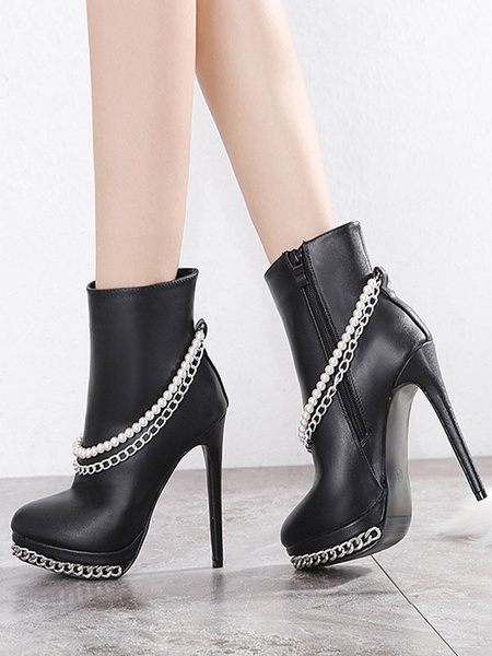 Milanoo Women Ankle Boots Black PU Leather Round Toe Pearls Chains High Heel Booties