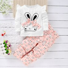 Toddler Girls Bow Front Rabbit Print Tee With Paperbag Pants