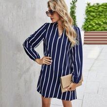 Notch Neck Striped Tunic Dress