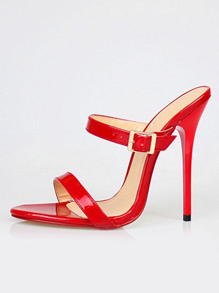 Milanoo White Sandal Slippers Women's High Heel PU Stiletto Sandal Shoes