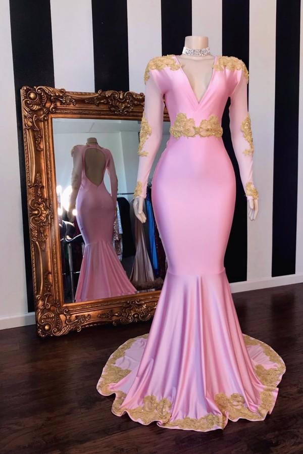 Mangas largas con cuello en v espalda abierta apliques de sirena rosa vestidos de fiesta