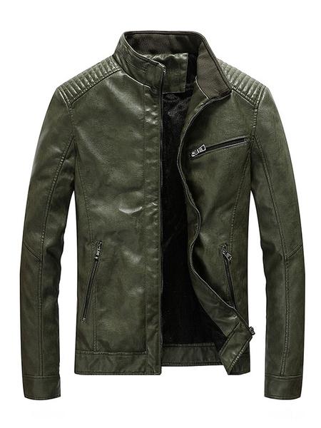 Milanoo Brown Leather Jacket Stand Collar Zip Up Men Short Jacket