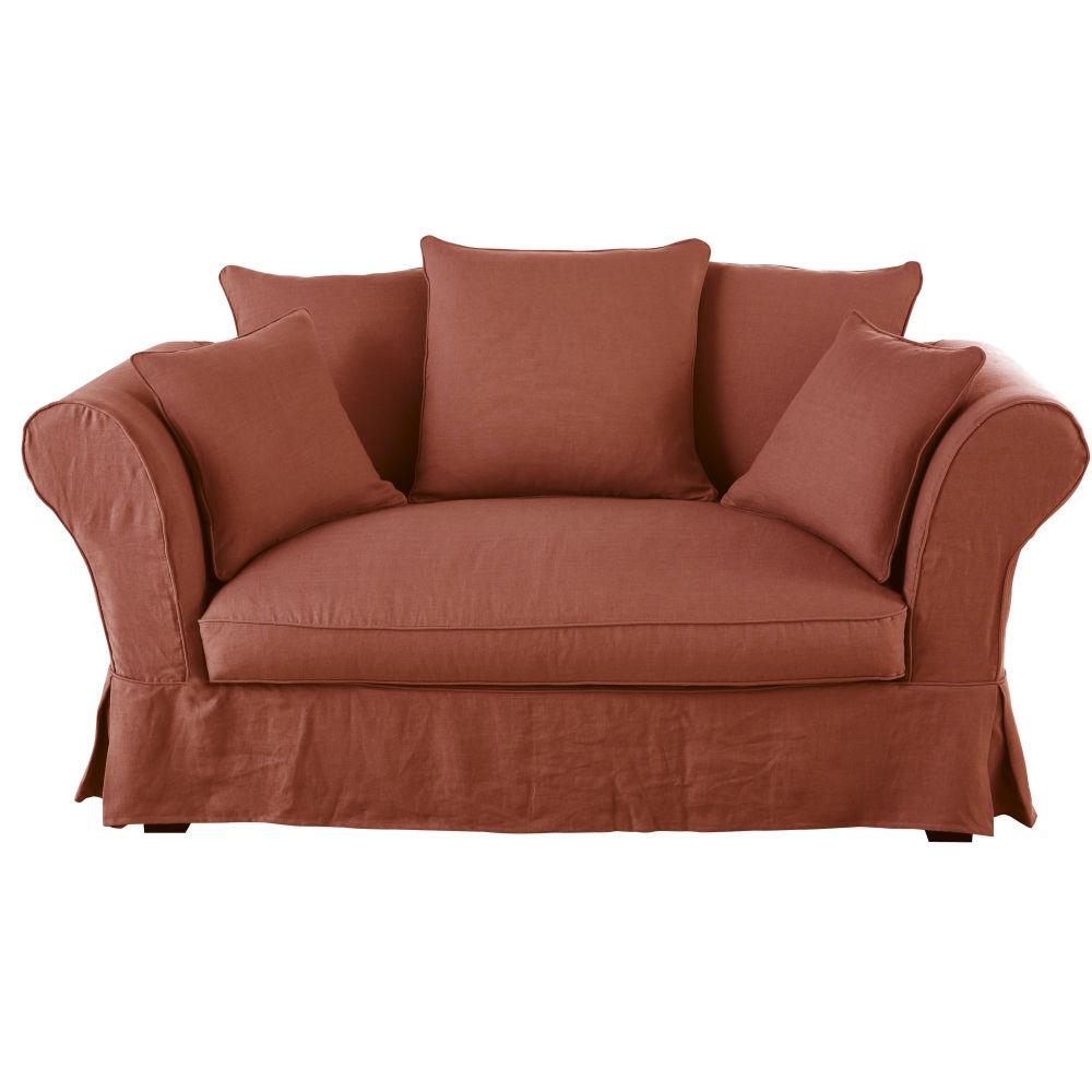2-Sitzer-Sofa mit terrakottafarbenem Leinen-Crinkle-Bezug Roma