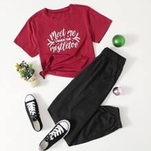 Letter Graphic Tee & Solid Sweatpants