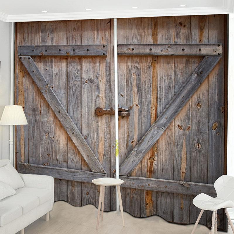 Beddinginn Creative 3D Old Wooden Barn Door Decoration Curtains
