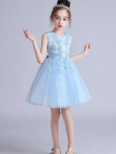 Milanoo Flower Girl Dresses Pink Jewel Neck Short Sleeves Embroidered Formal Kids Pageant Dresses
