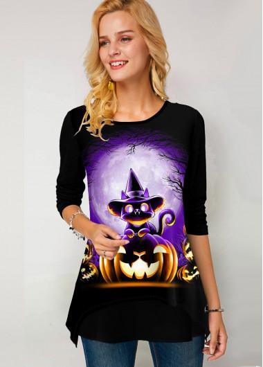 Round Neck Long Sleeve Halloween Print T Shirt - XS