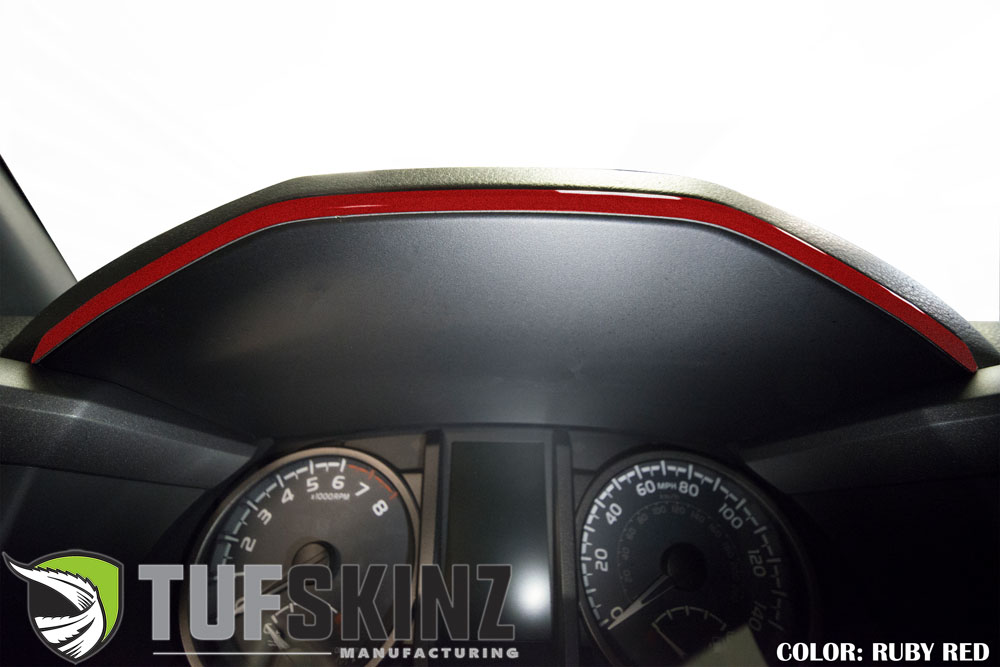 Tufskinz TAC018-SNR-G Dashboard Accent Trim Fits 16-up Toyota Tacoma 1 Piece Kit in Ruby Red