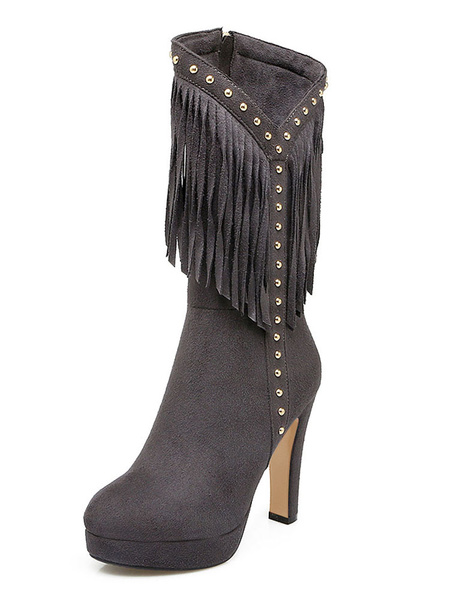 Milanoo Womens Mid Calf Boots Burgundy Round Toe 4.5 Boots With Tassels