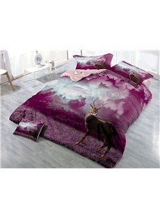 Elk and Purple Red Cloud Wear-resistant Breathable High Quality 60s Cotton 4-Piece 3D Bedding Sets