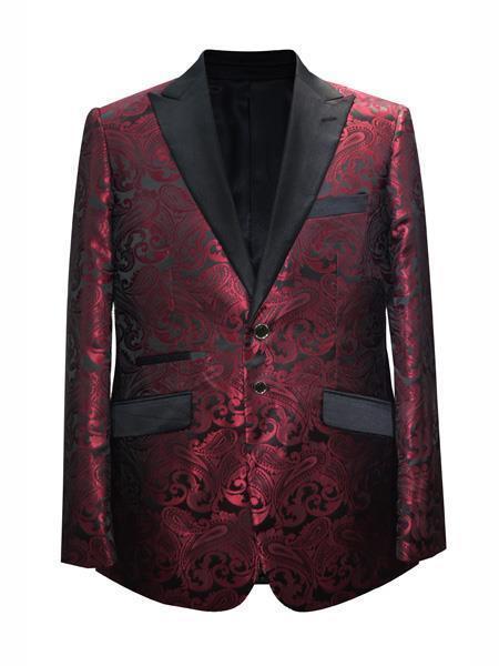 Cheap Mens Printed Flower Jacket Prom modern Tux Maroon ~ Wine
