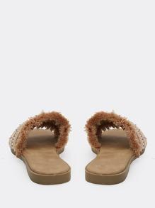 Embellished Wide Band Flat Slide Sandals