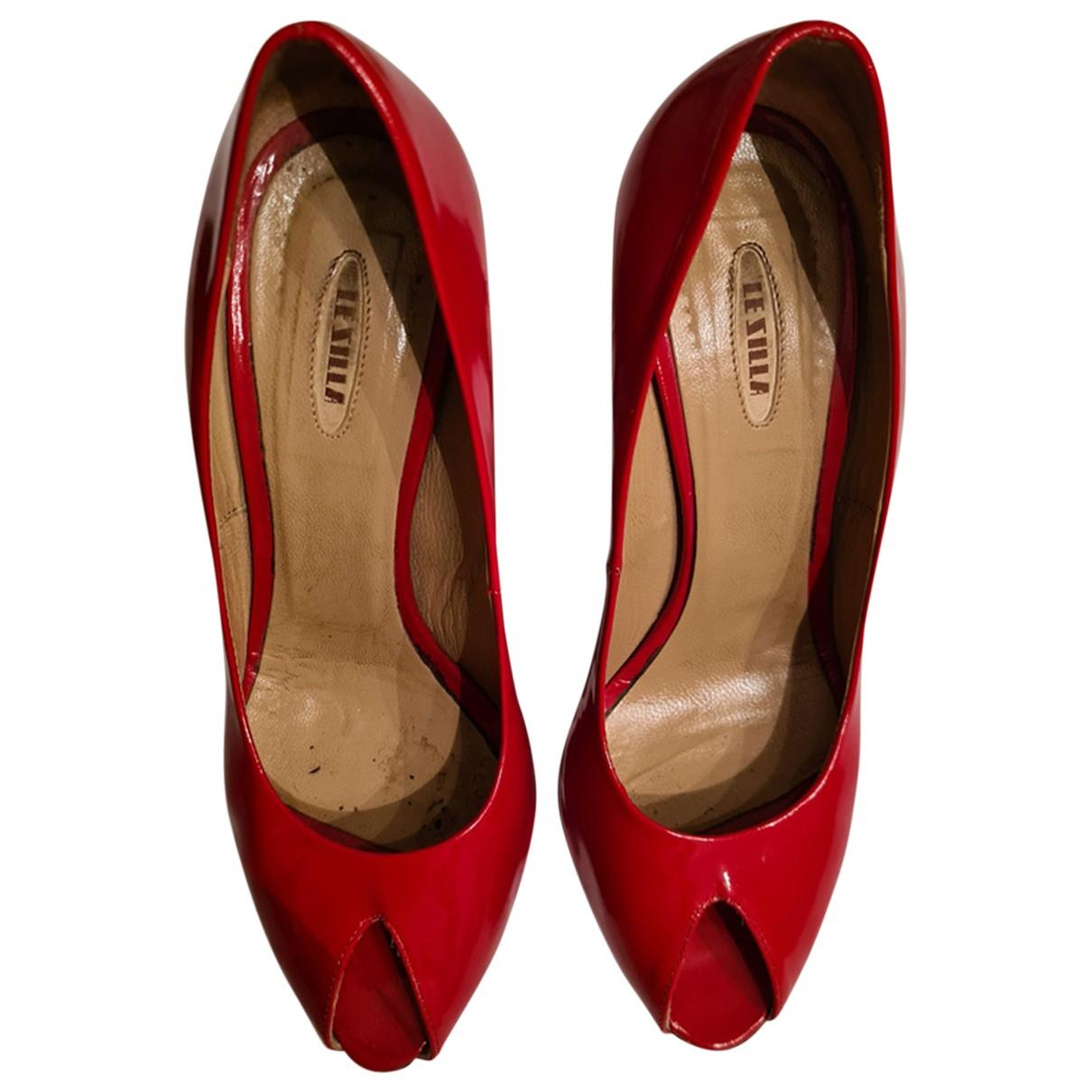 Le Silla - Escarpins   pour femme en cuir - rouge