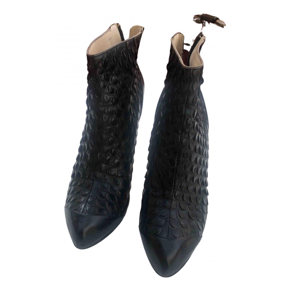 Christian Dior - Boots   pour femme en cuir - noir