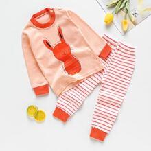 Toddler Girls Cartoon & Stripe Print PJ Set