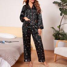 Satin Schlafanzug Set mit Revers Kragen und Stern Muster