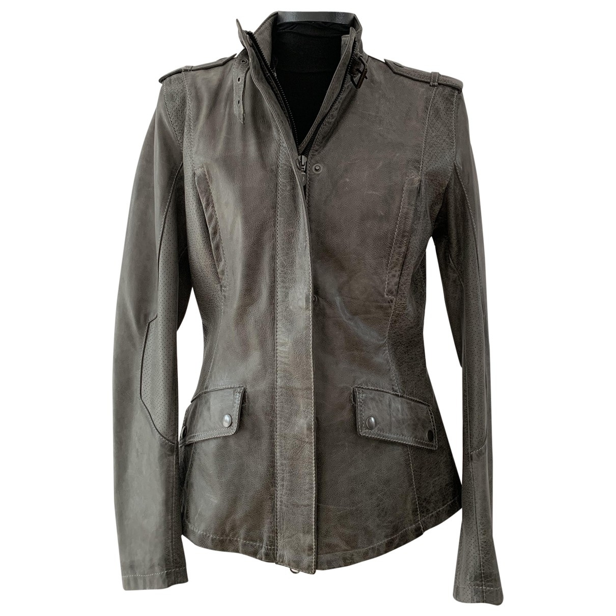 Belstaff - Blouson   pour femme en cuir - gris