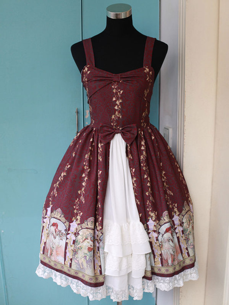 Milanoo Multicolor Synthetic Lolita Dress With Layered Bows  Original Design