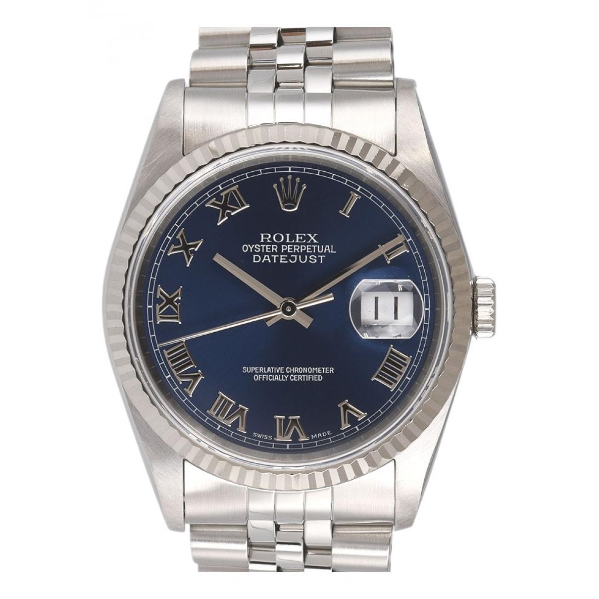 Rolex - Montre Datejust 36mm pour homme en or et acier - bleu