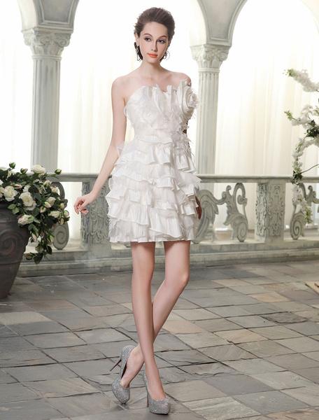 Milanoo Vestido de novia de tafetan  y saten de color marfil
