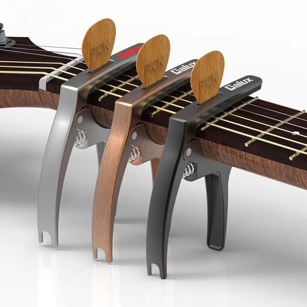 Galux 3in1 Zinc Metal Capo for Acoustic and Electric Guitars (with Pick Holder),Ukulele,Mandolin,Banjo,Classical Guitar