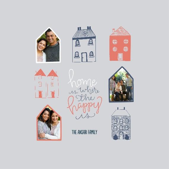 Family + Friends Framed Canvas Print, Oak, 12x12, Home Décor -Happy Homes
