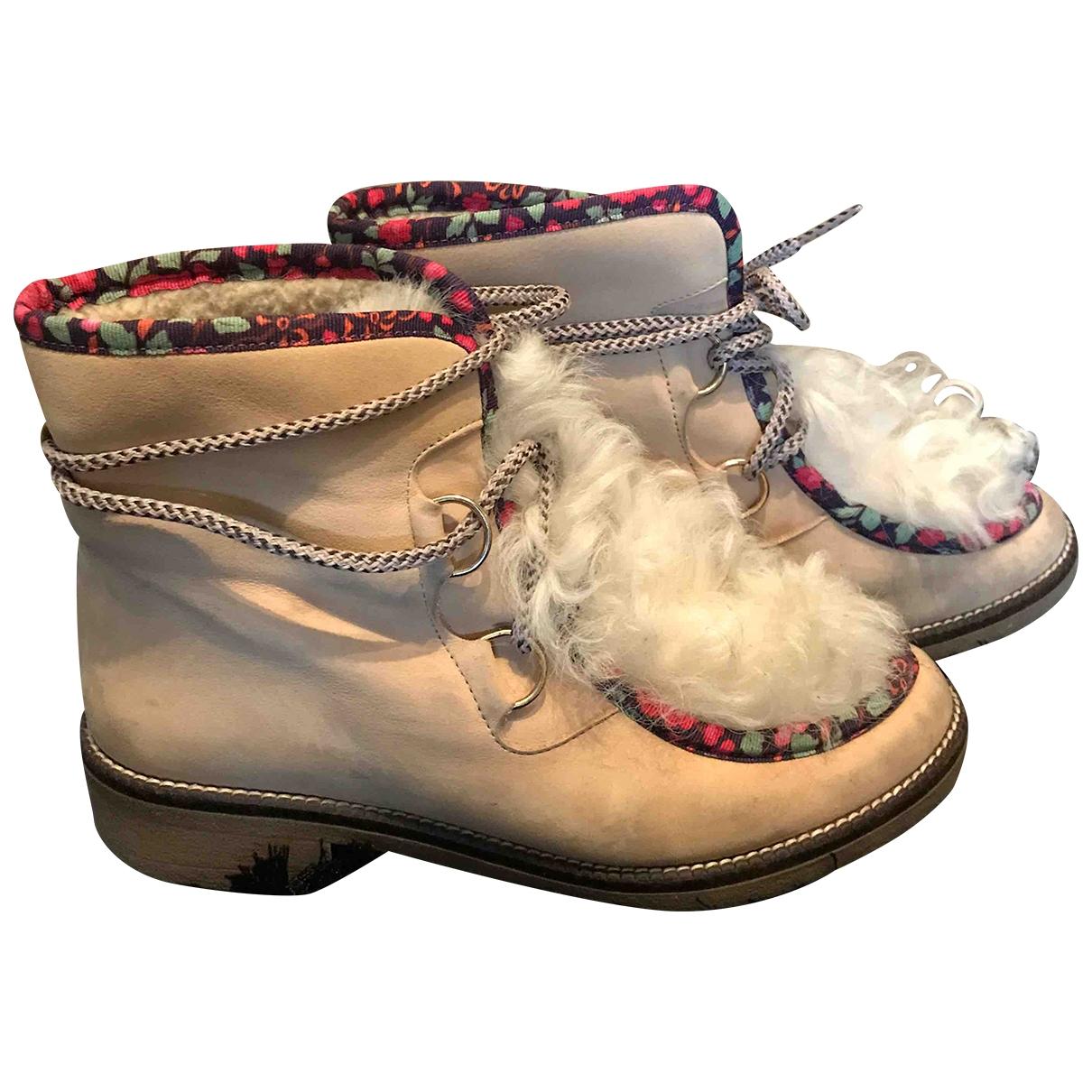 Manoush - Boots   pour femme en suede - beige