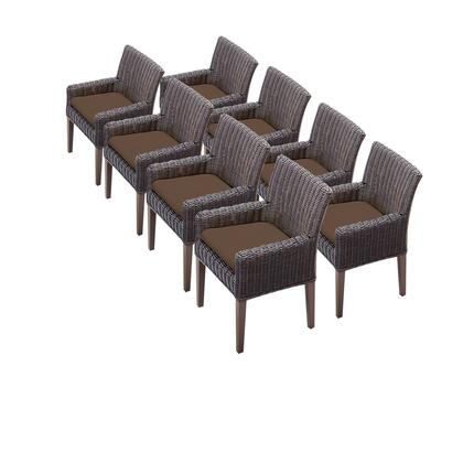 TKC099b-DC-4x-C-COCOA 8 Venice Dining Chairs With Arms with 2 Covers: Wheat and