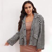 Tweed Jacke mit Knopfen vorn und Hahnentritt Muster