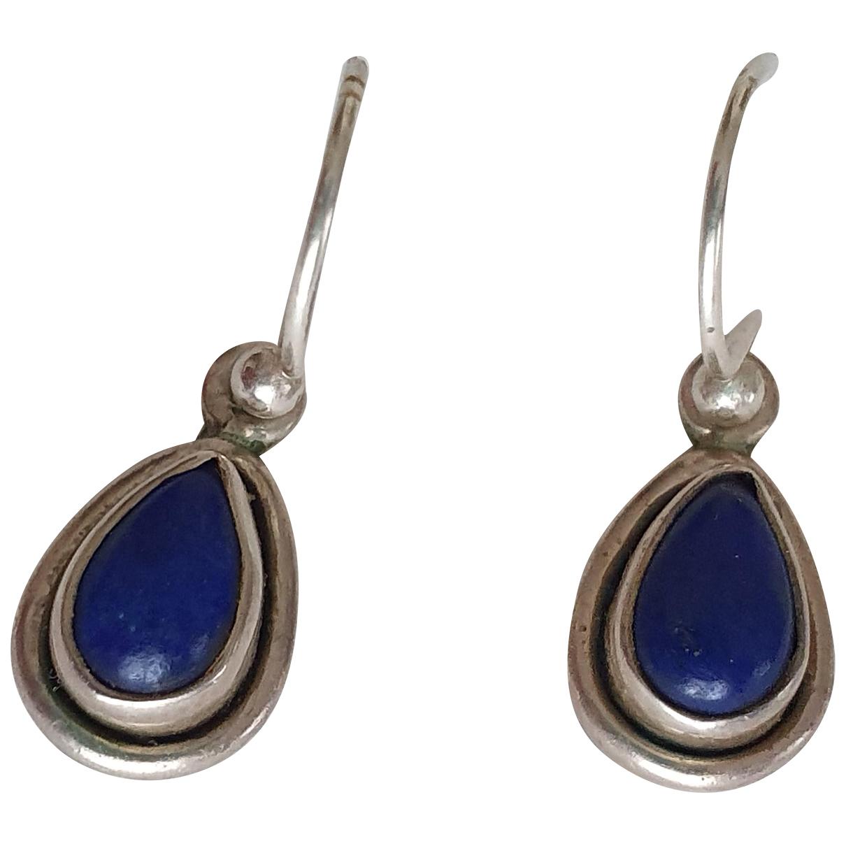 Non Signe / Unsigned Lapis lazuli OhrRing in  Blau Silber