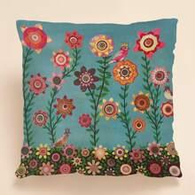 1 Stueck Kissenbezug mit Blumen Muster ohne Fuellstoff