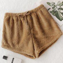 Flanell Lounge Shorts mit Kordelzug um die Taille