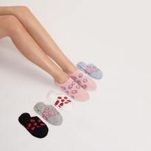 5 Paare Socken mit Erdbeere Muster