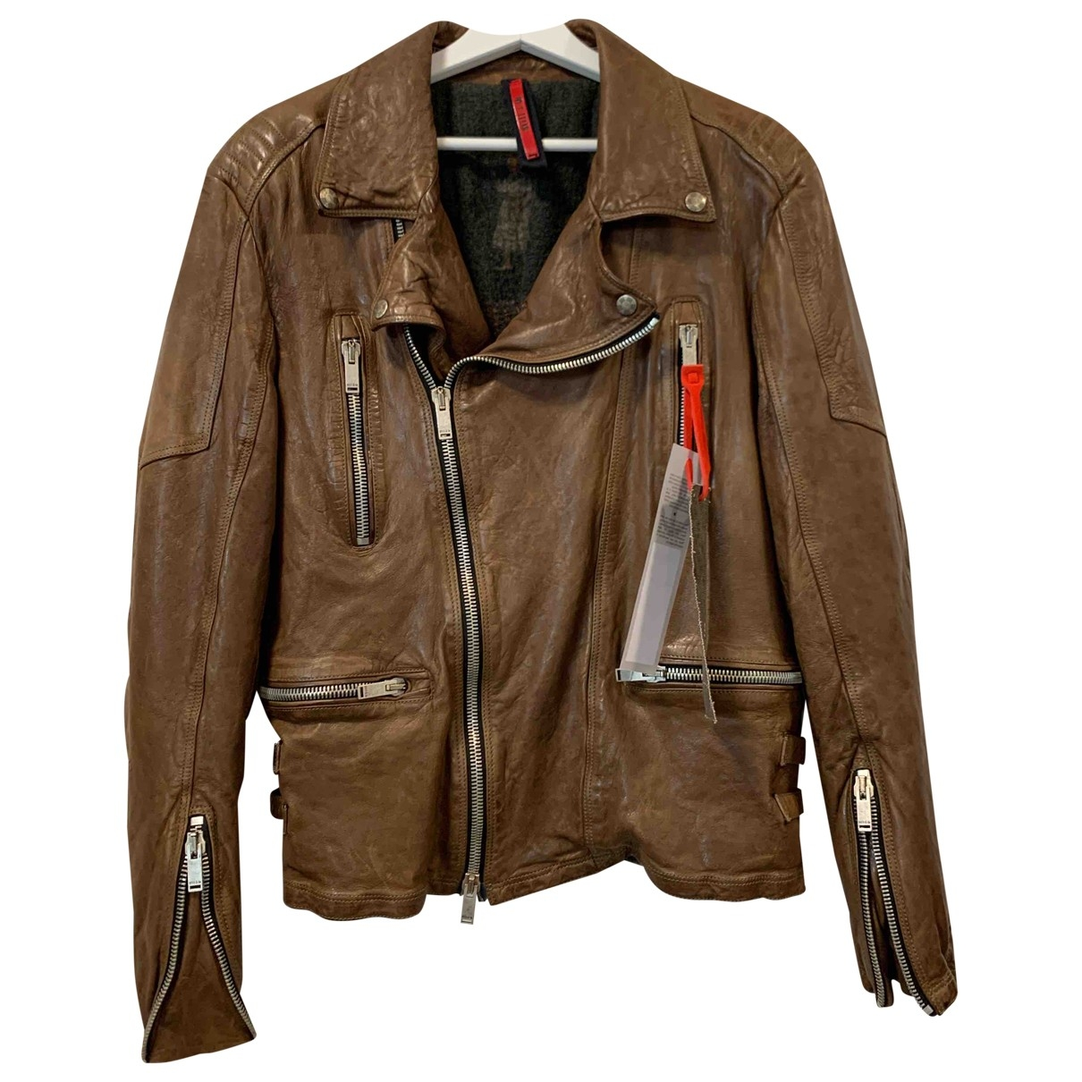 Non Signé / Unsigned \N Brown Leather jacket  for Men 48 IT