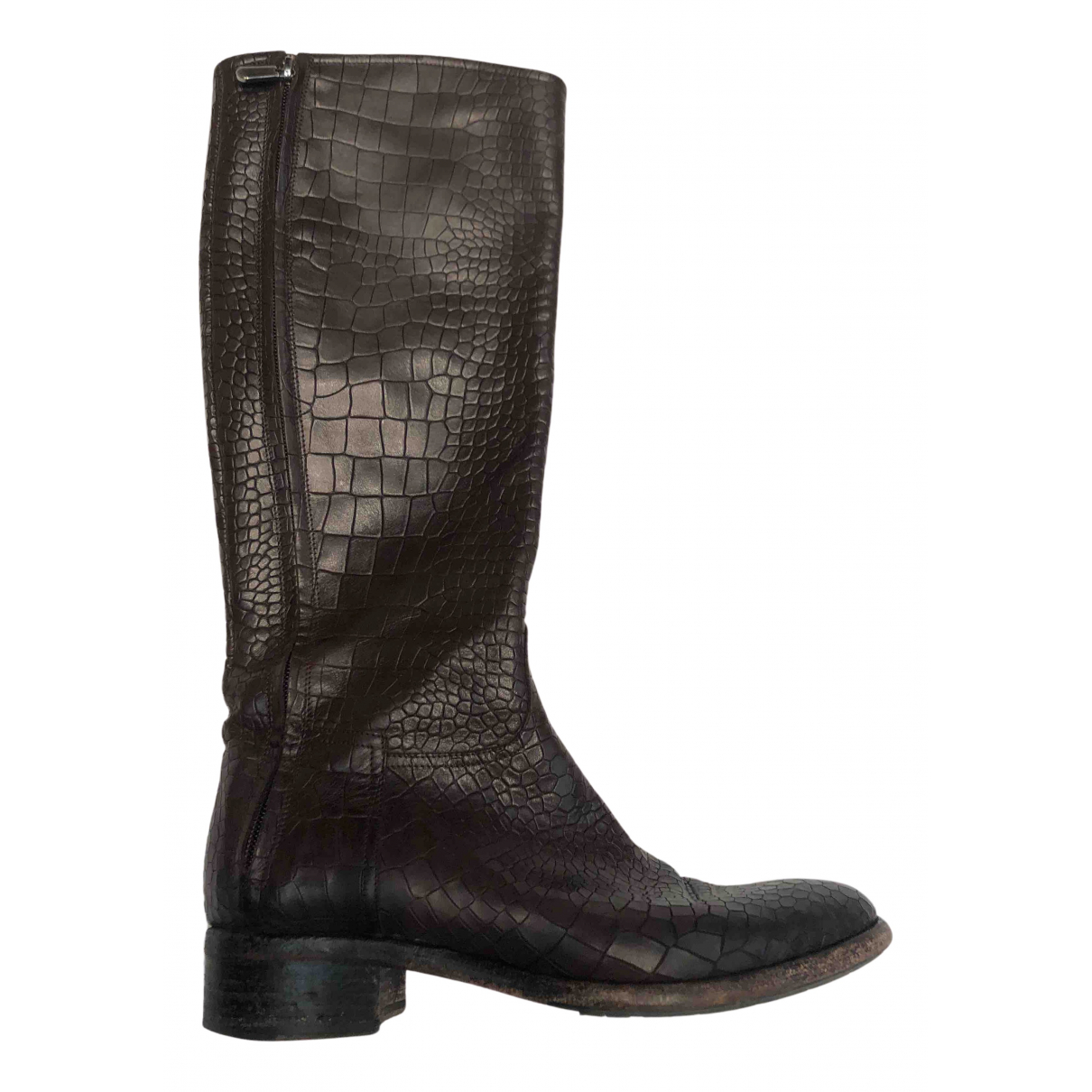 Non Signé / Unsigned N Brown Leather Boots for Women 37 IT
