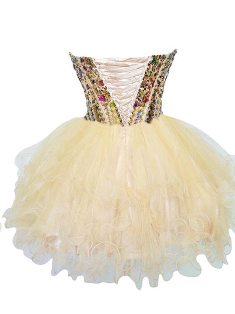 Ericdress Sweetheart Ball Gown Crystal Beadings Mini Homecoming Dress
