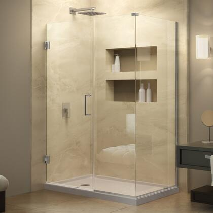 SHEN-24560340-04 Unidoor Plus 56 In. W X 34 3/8 In. D X 72 In. H Frameless Hinged Shower Enclosure  Clear Glass  Brushed