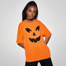Halloween Print Drop Shoulder Tee