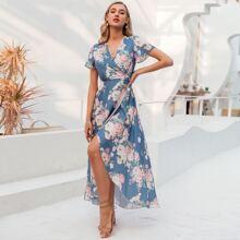 Kleid mit Wickel Design, seitlichem Band, asymmetrischem Saum und Blumen Muster