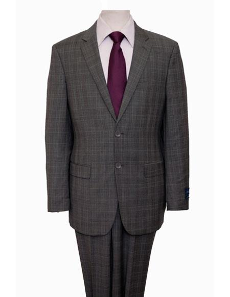 Men's Single Breasted Pattern Notch Lapel Gray Suit Flat Front Pant