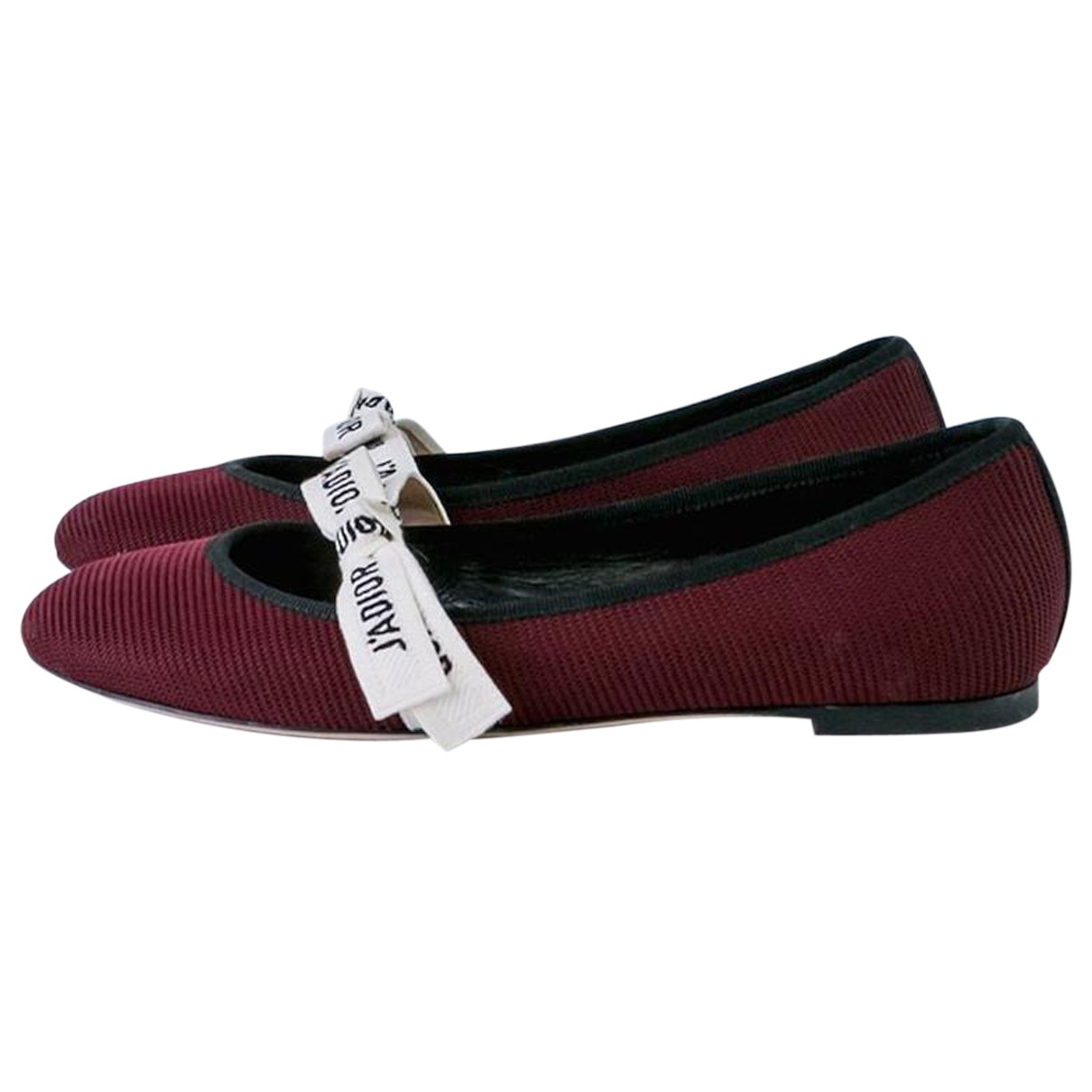 Dior N Burgundy Cloth Ballet flats for Women 38.5 EU