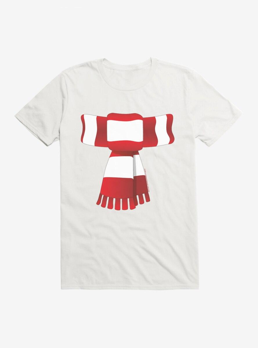 Emoji Holiday Icons Striped Scarf T-Shirt